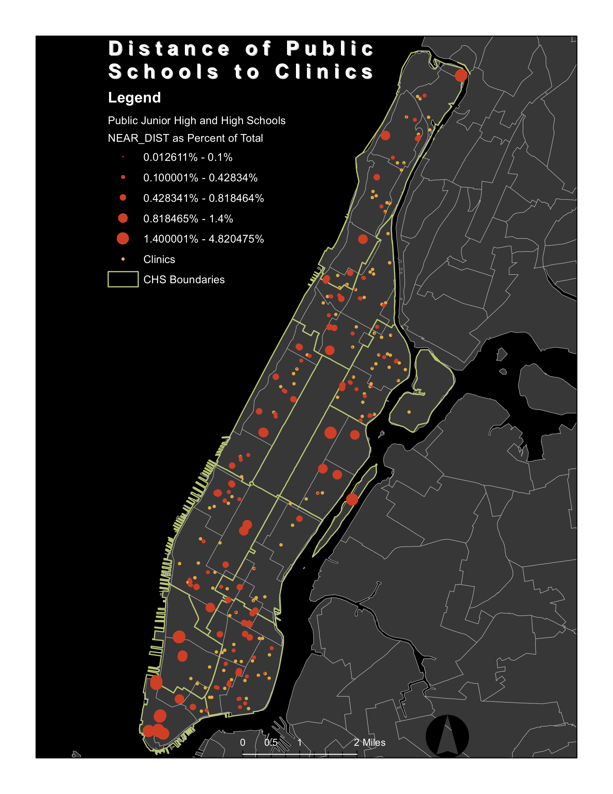 NYC Clinic Distance from Public Schools